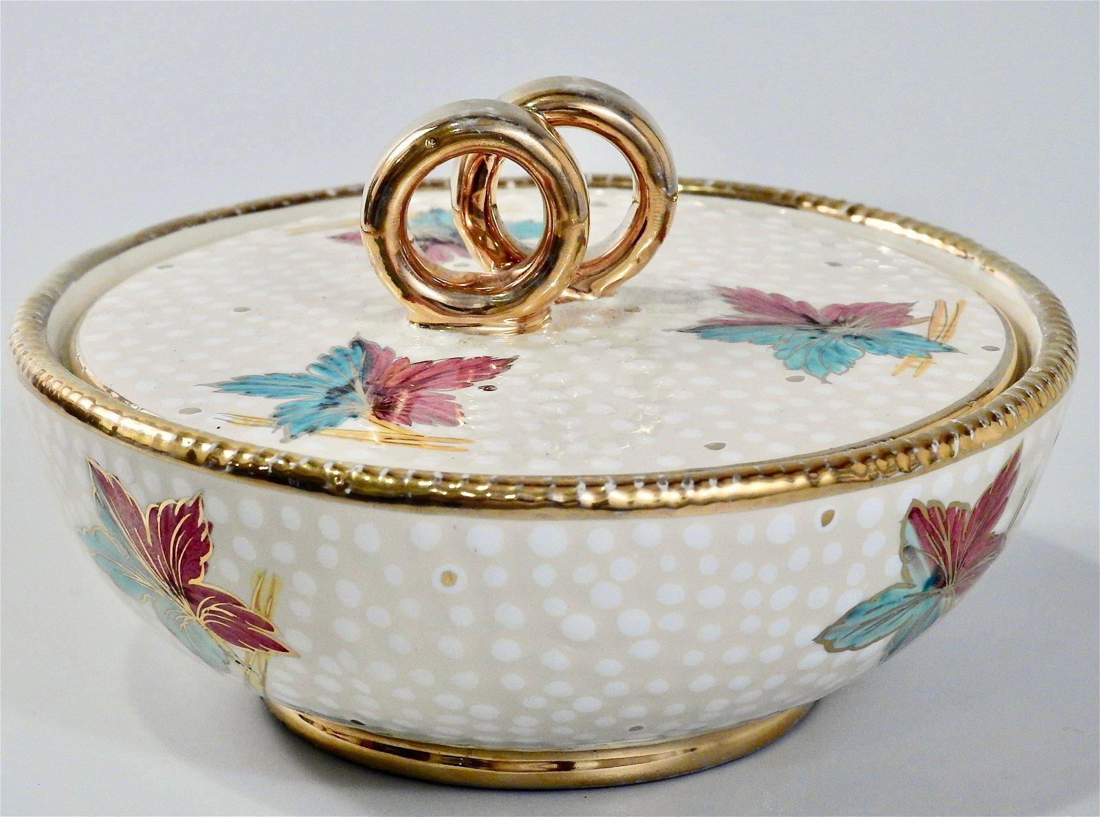 Vintage Italian Pottery Gold Wedding Rings Ceramic Box