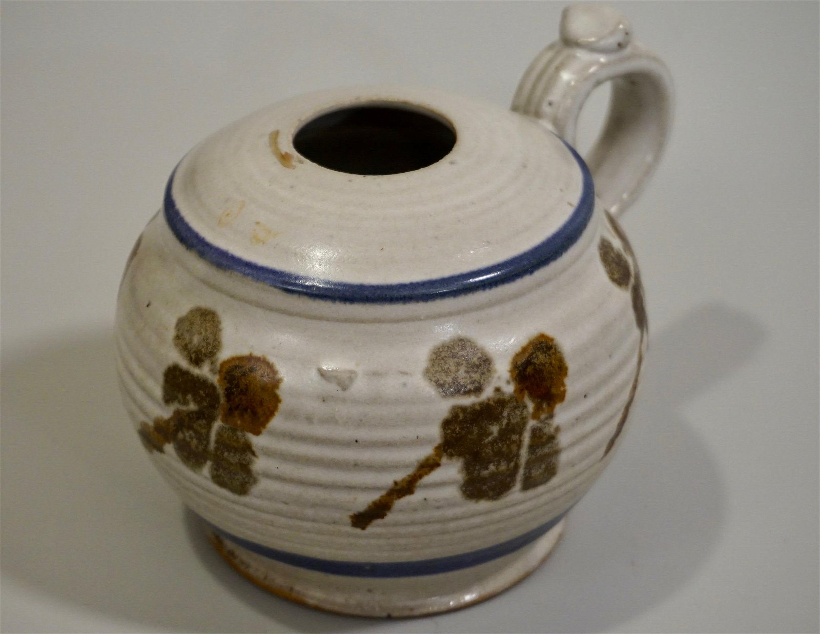 Studio Pottery Oil Lamp Font Cobalt Trim Painted