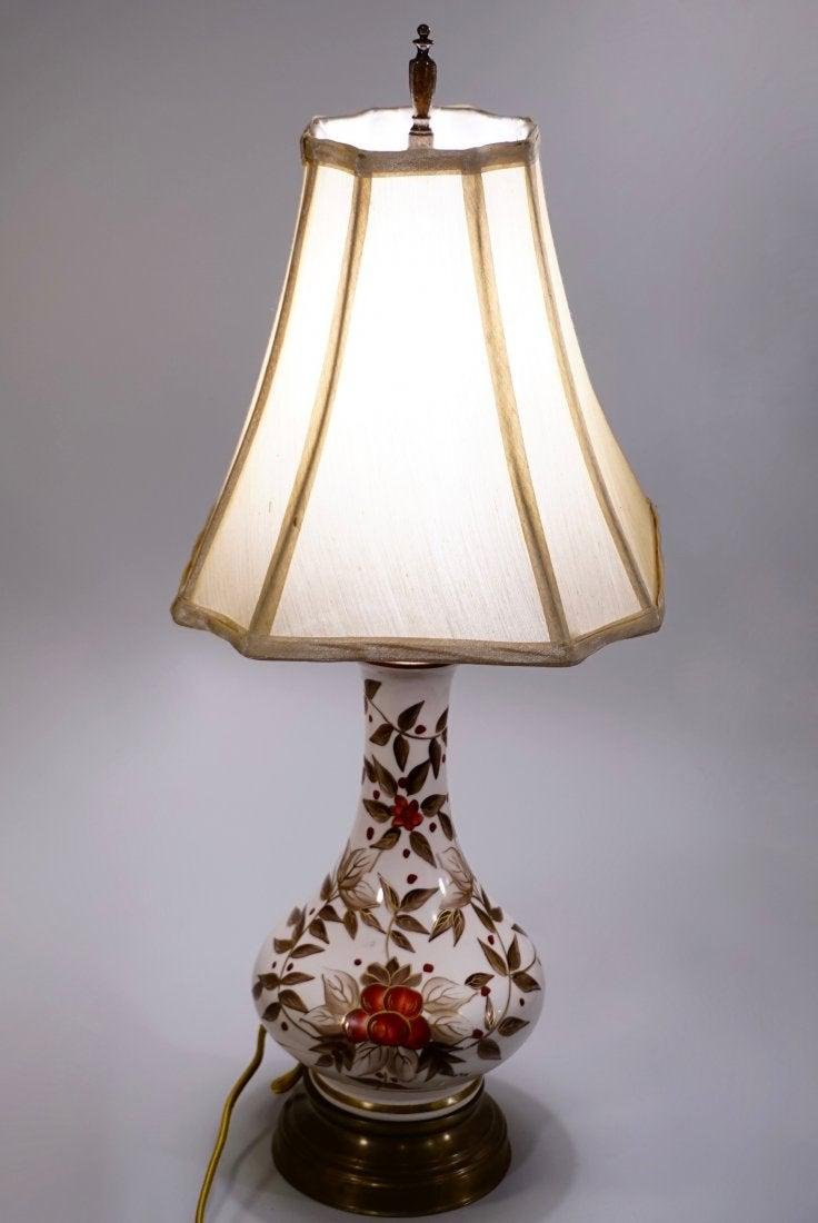 Hand Painted Vintage Ceramic Table Lamp Refurbished and