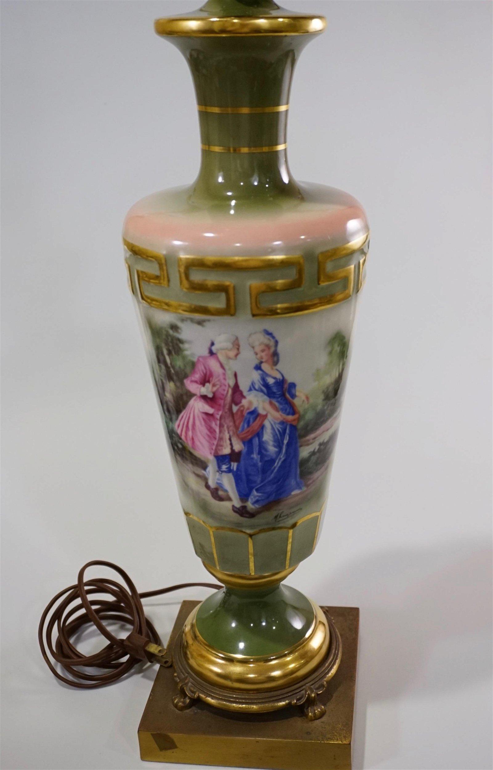 Vintage Ceramic Table Vase Lamp Elegant Couple Signed