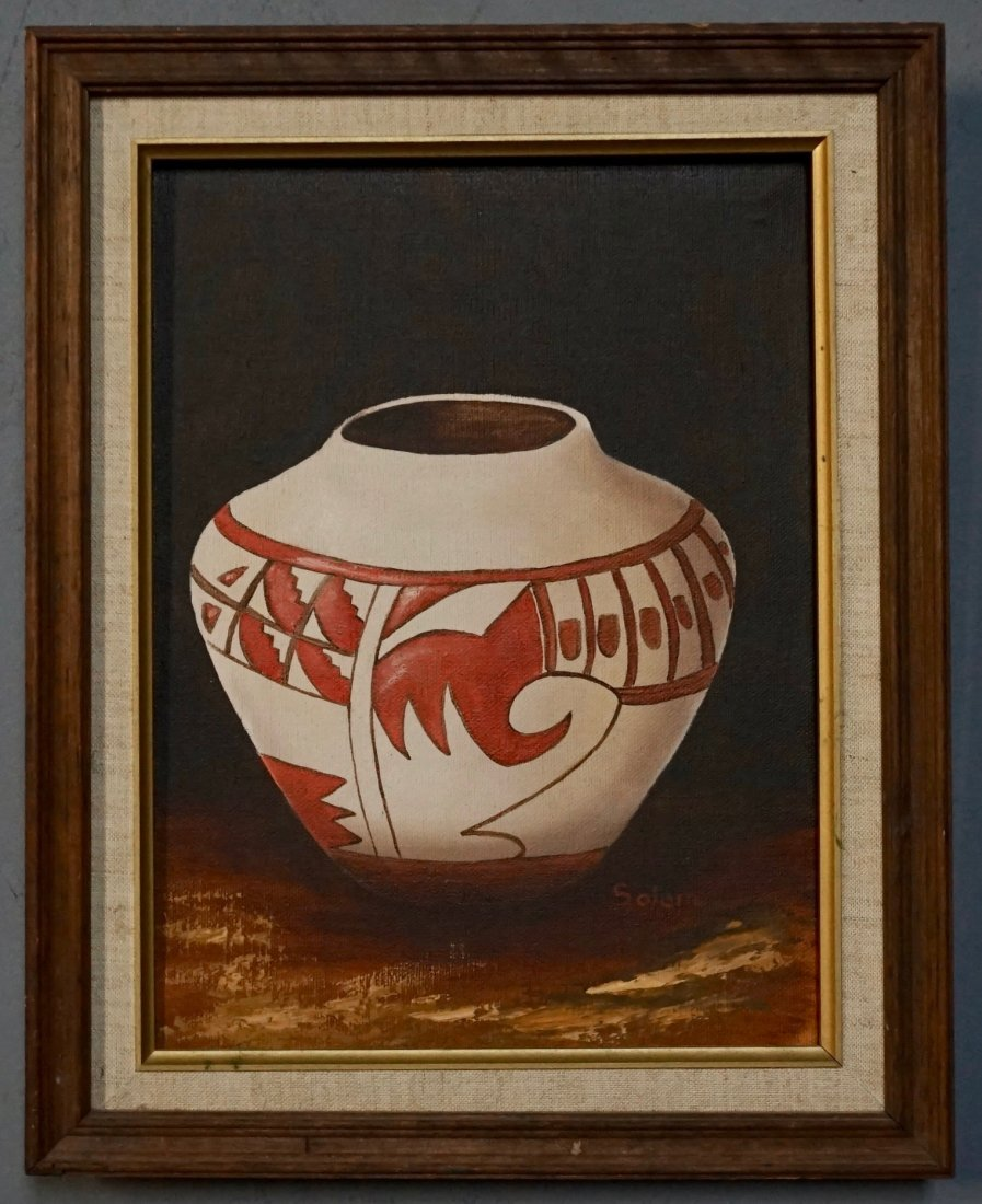 American Indian Pottery Jar Oil on Canvas Painting