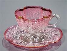 Antique Moser Enamel Cranberry Footed Demitasse Cup