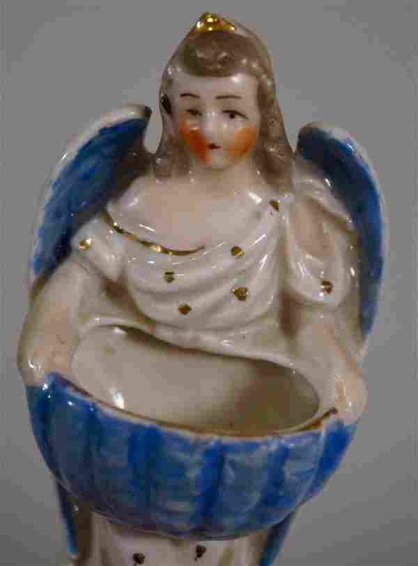 Antique German Angel Holy Water Font Glazed Porcelain