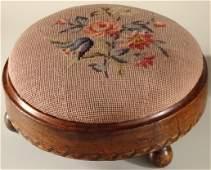 Italian Antique Round Footstool Needlepoint Upholstery