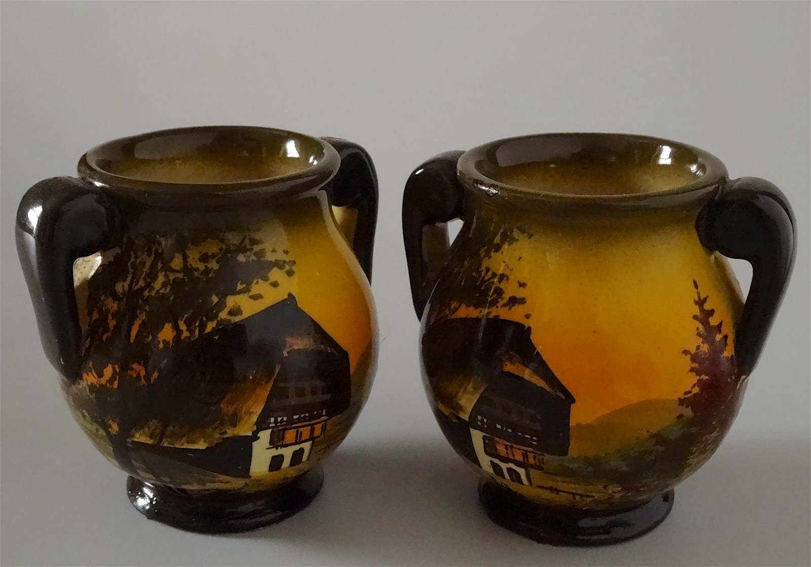 Majolica Black Forest Hand Painted Vase Urns Scramberg