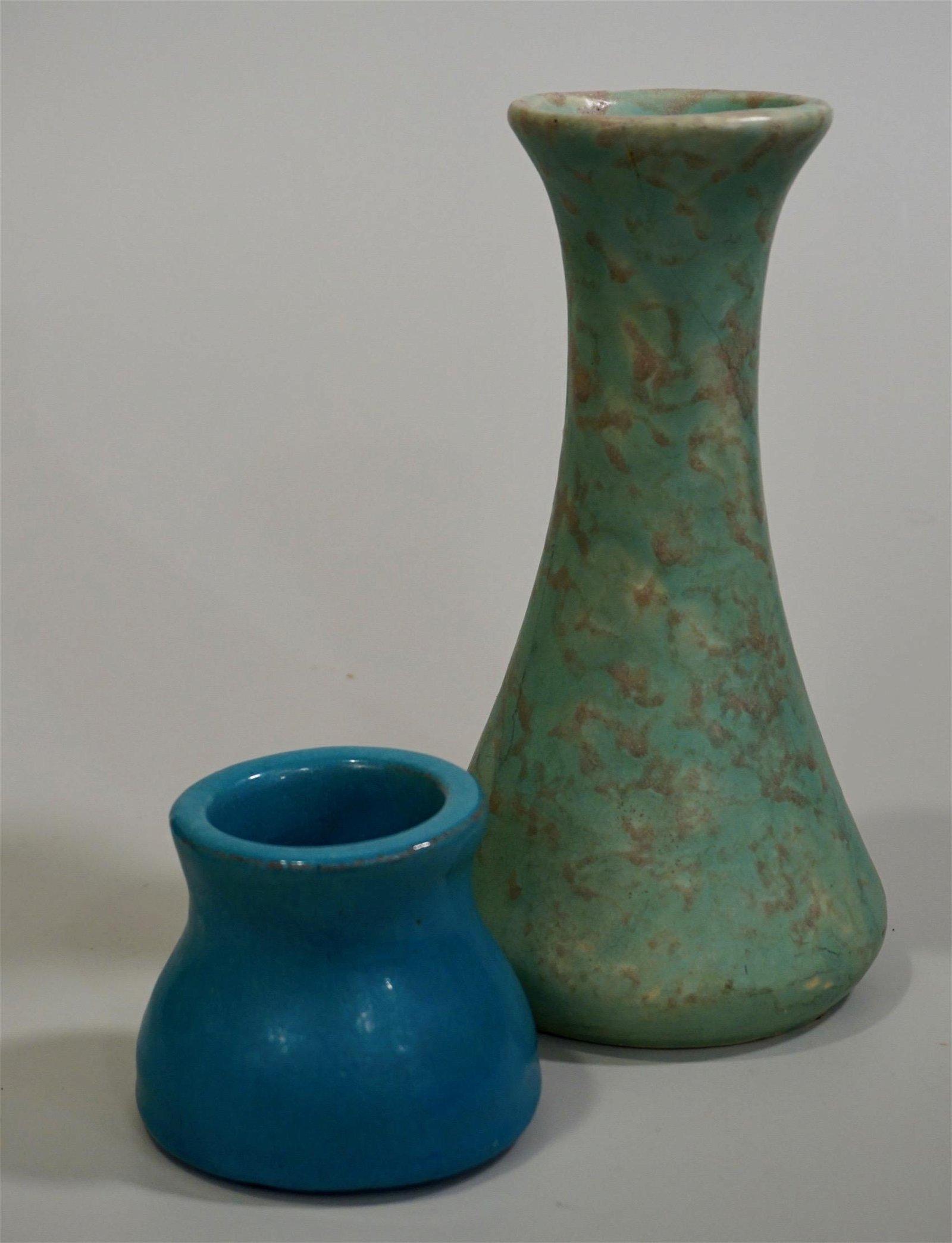 Mid Century Studio Pottery Turquoise Glazed Vase Lot of