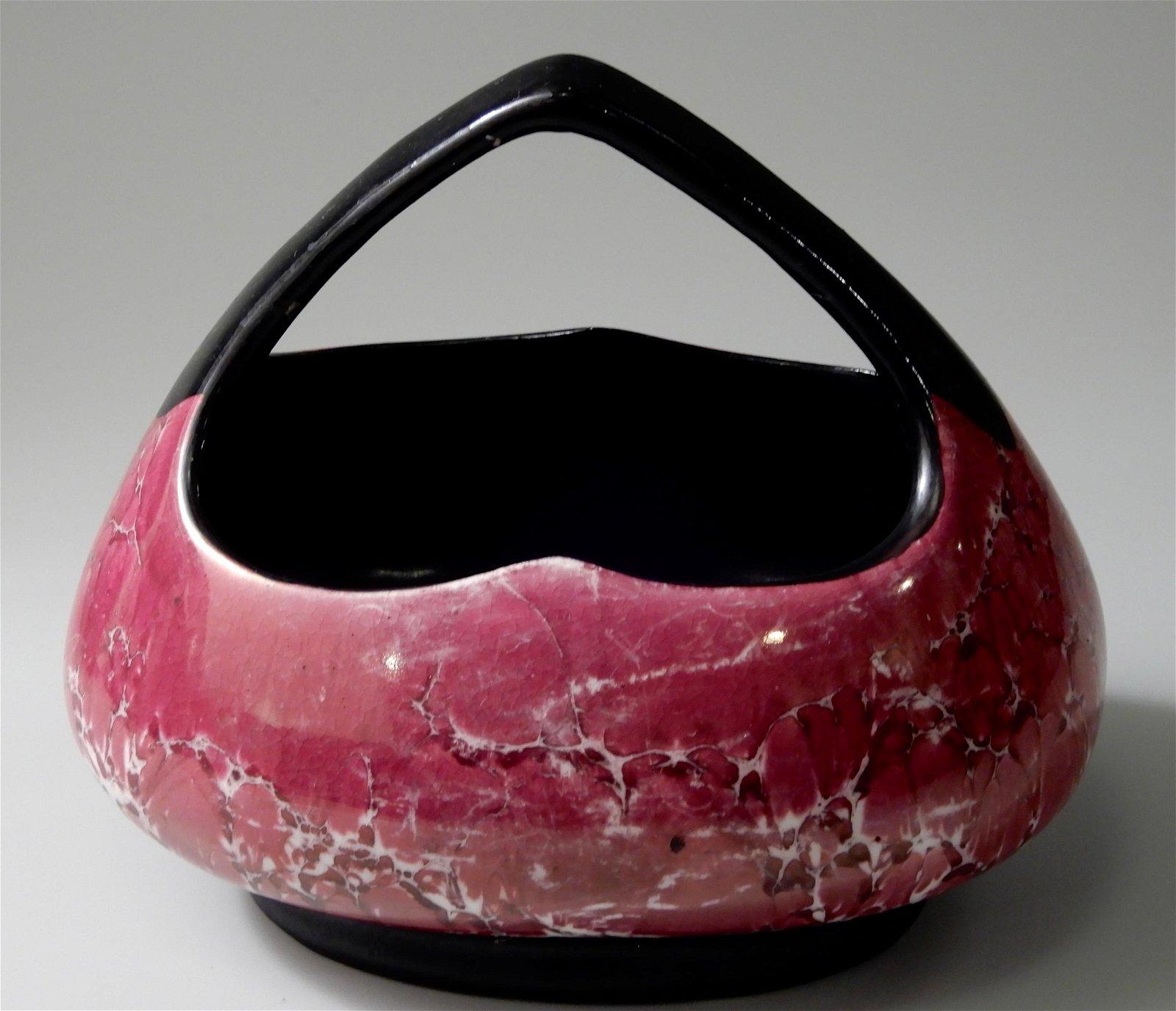 Czech Art Deco Corona Marbleized Pottery Basket Vase