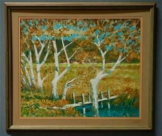 Vintage Mid Century Autumn Landscape Painting on Canvas