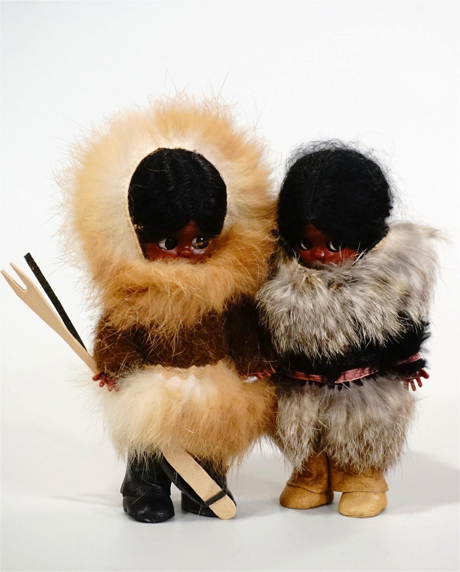 Vintage Eskimo Fur Dolls Lot of 2