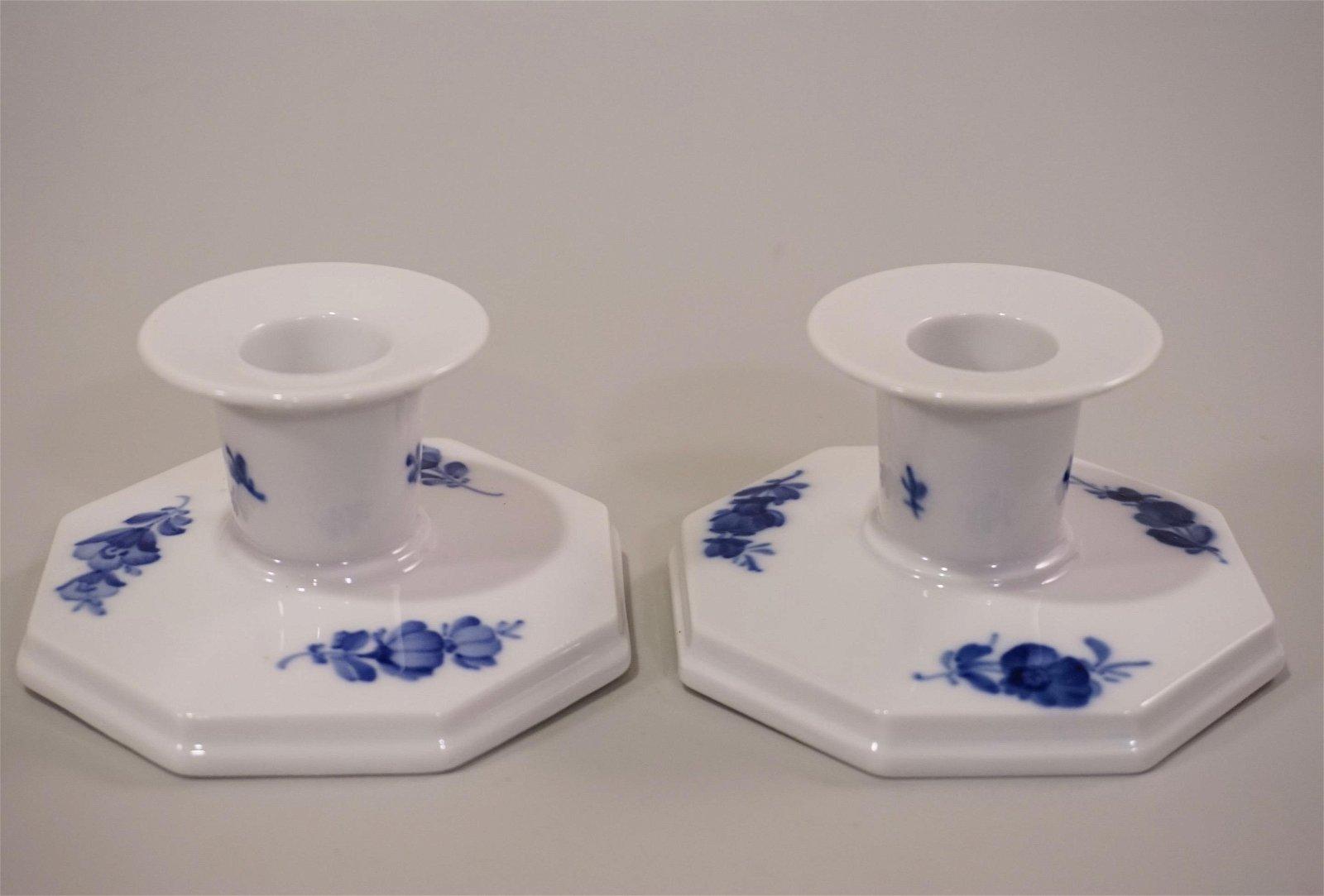 Denmark Porcelain Candle Holder Royal Copenhagen Blue