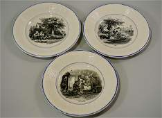 Digoin Sarreguemines French Faience Plates Lot of 3