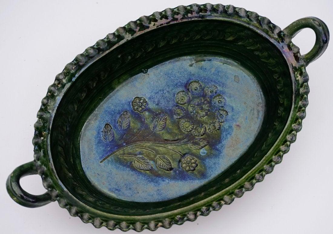 Green Glazed Earthenware Mold Vintage Pottery Kitchen