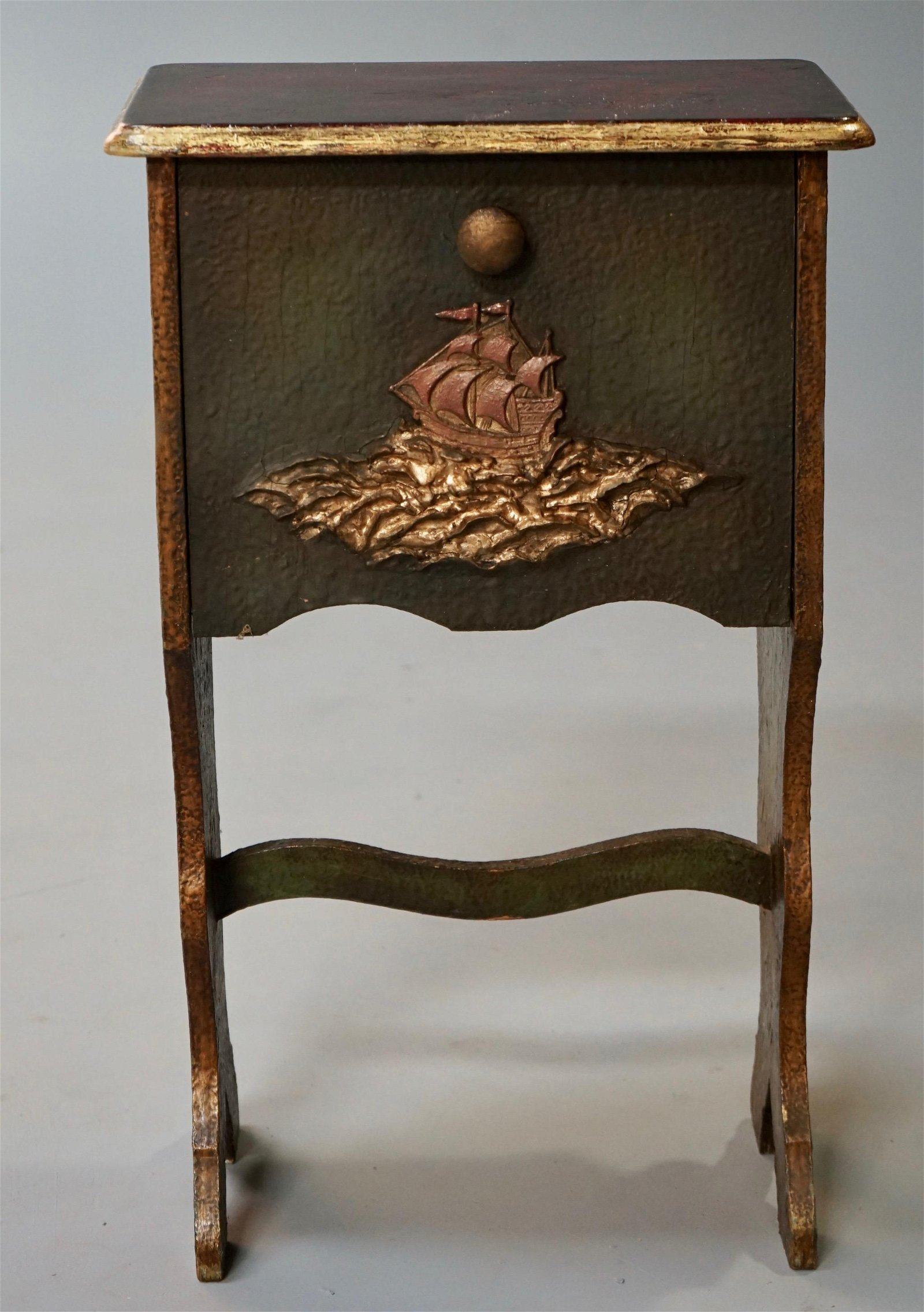 Vintage Circa 1940s Side Cabinet with Sailing Ship