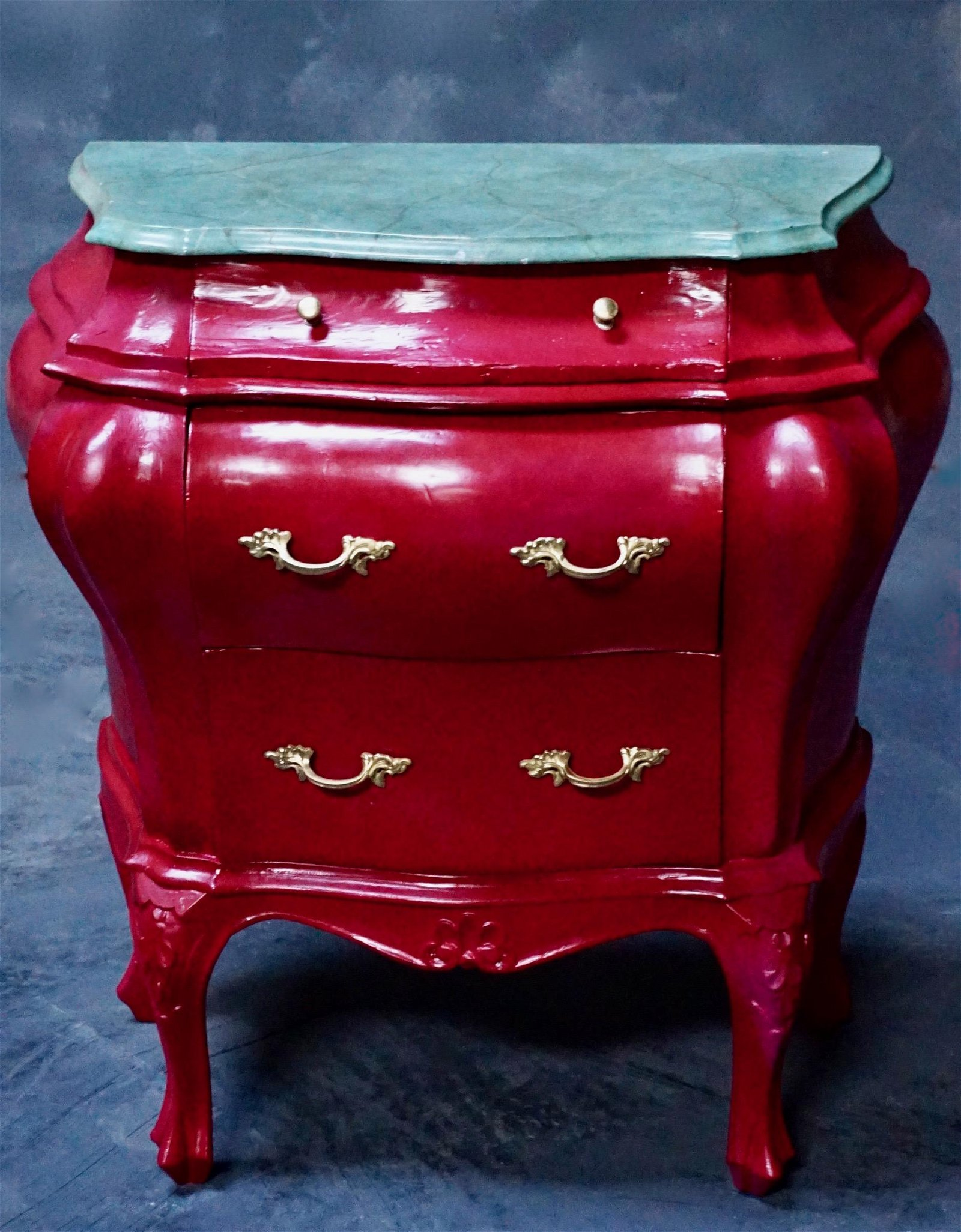 Italian Bombe Commode Magenta Commodino with Faux