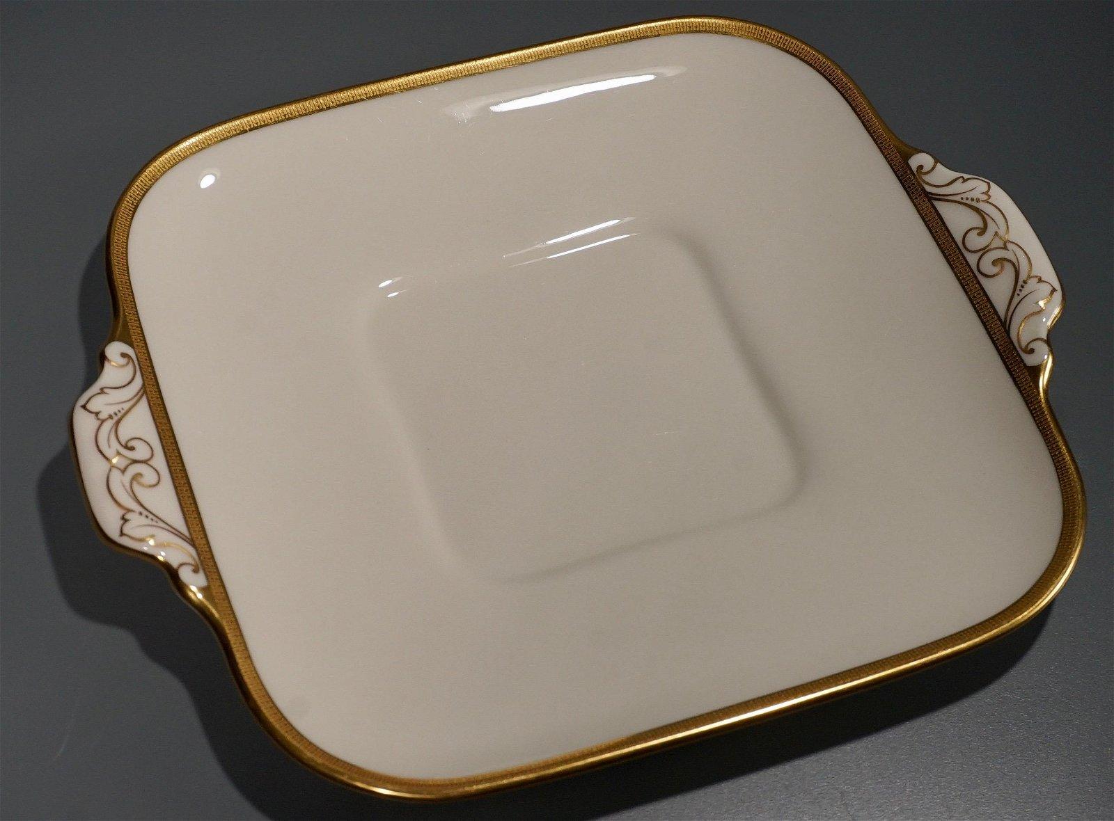 Lenox Porcelain Square Serving Platter Gold Handles
