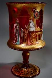 Museum Quality Florentine Ruby Glass Enamel Painted Cup
