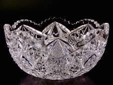 Vintage Crystal Quality Cut Glass Salad Bowl