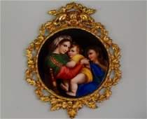 Large Italian Porcelain Plaque Madonna Della Seggiola
