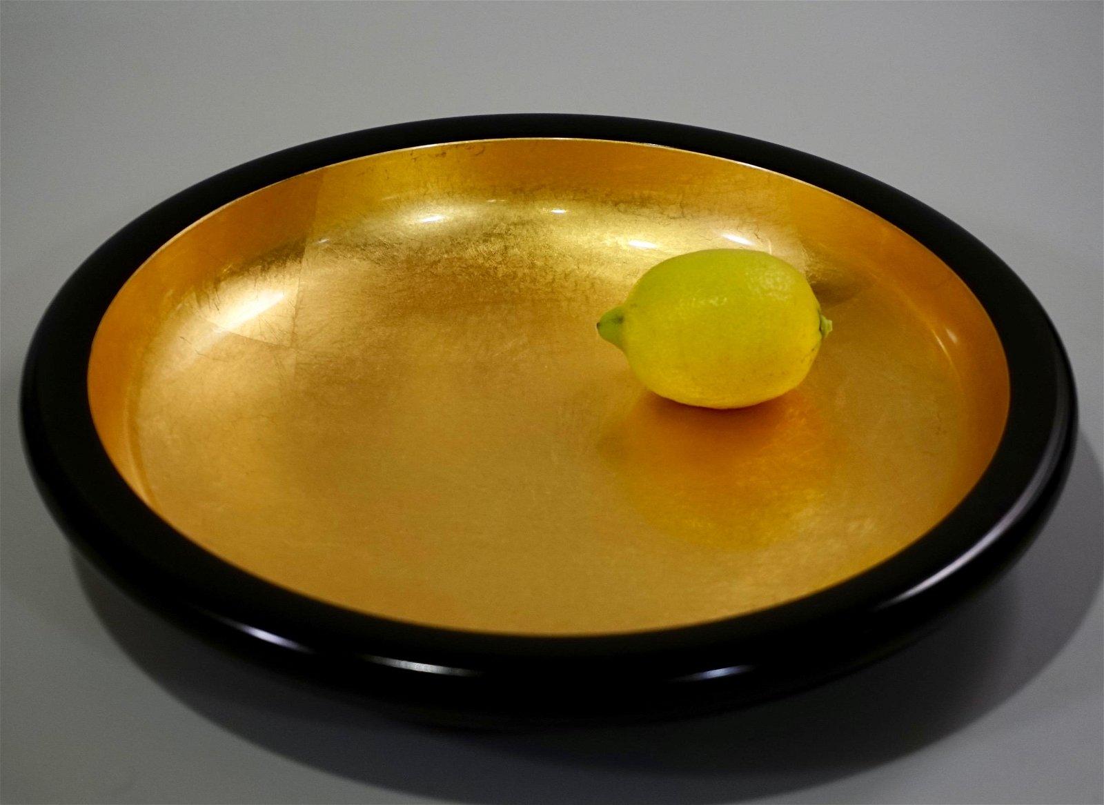 24K Gold Leaf Gilded Japanese Lacquerware Bowl