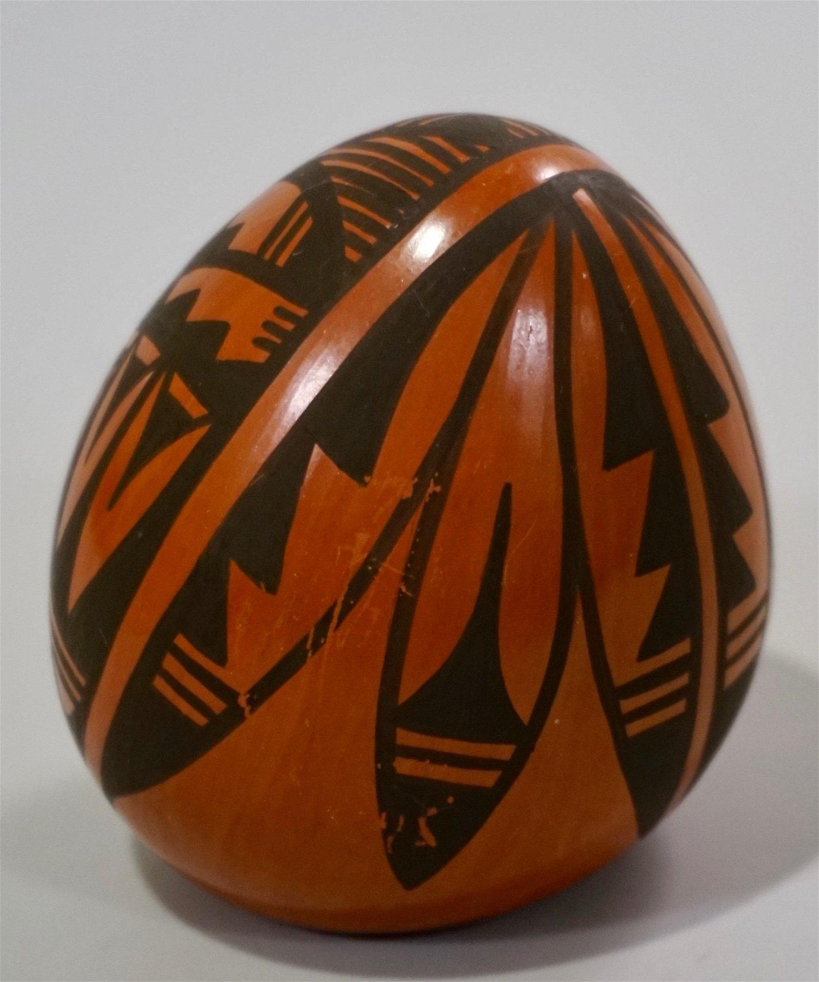 Vintage Ethnic Carved Pottery Egg Shaped Ornament
