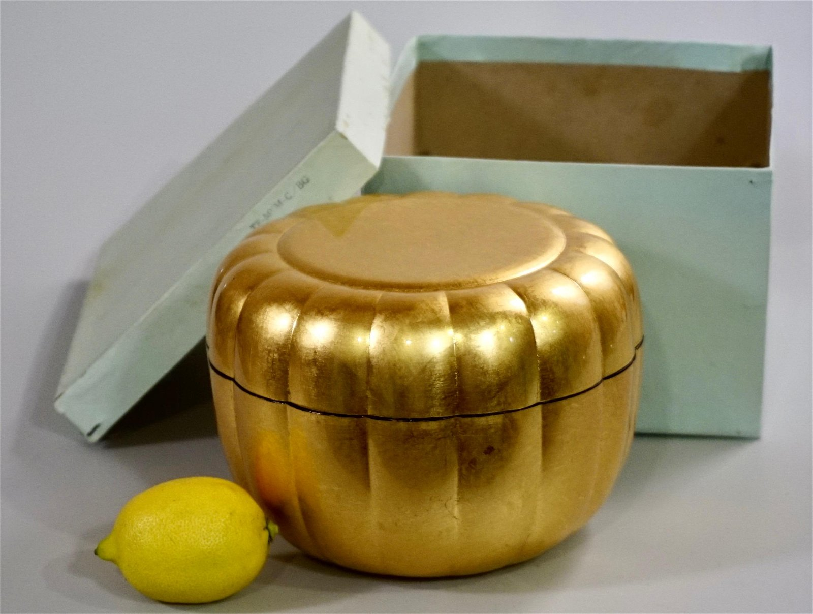 Japanese Round Gold Leaf Gilded Melon Shaped Box Never