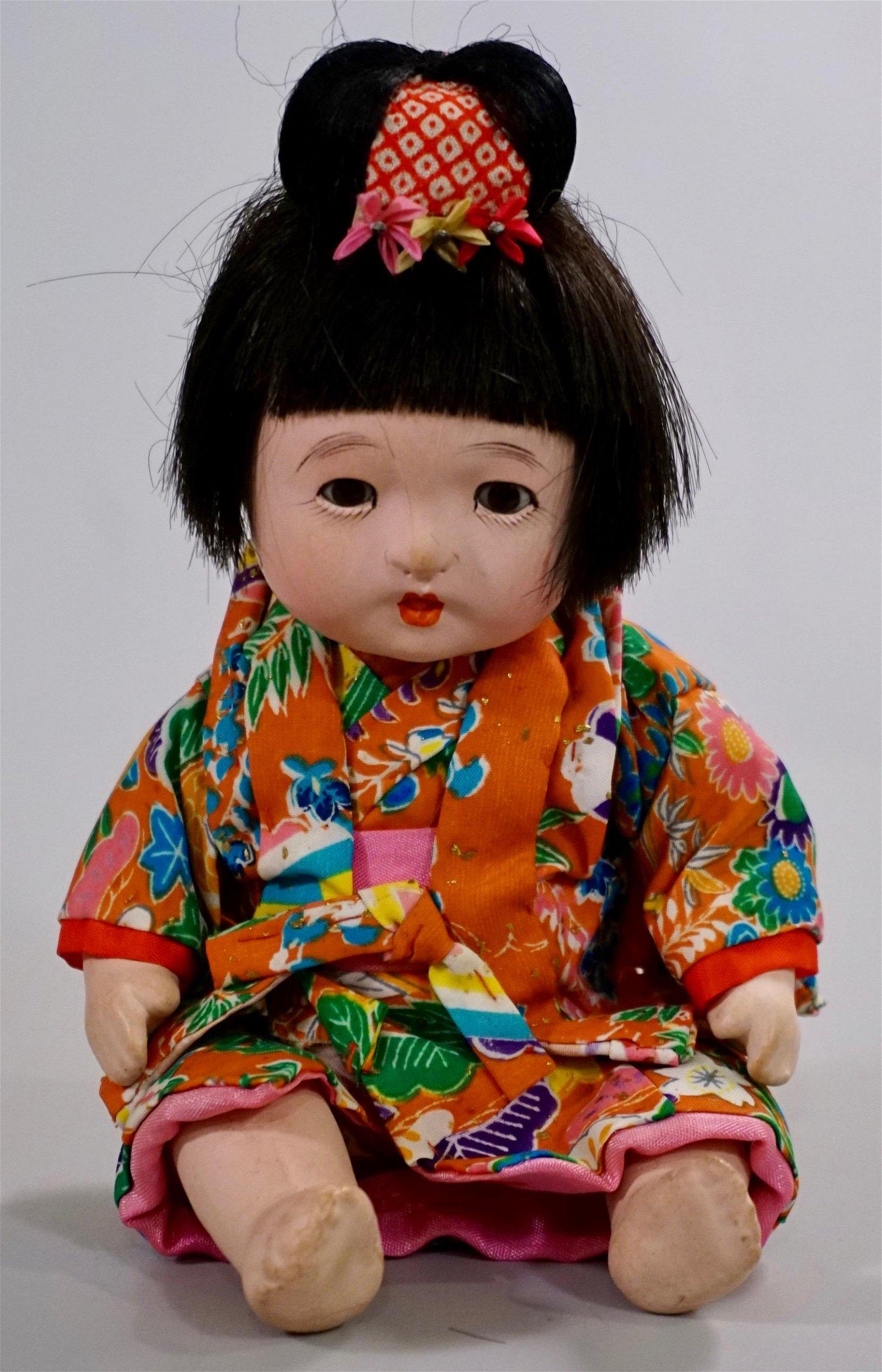 Japanese Porcelain Doll Glass Eye Jointed Ichimatsu