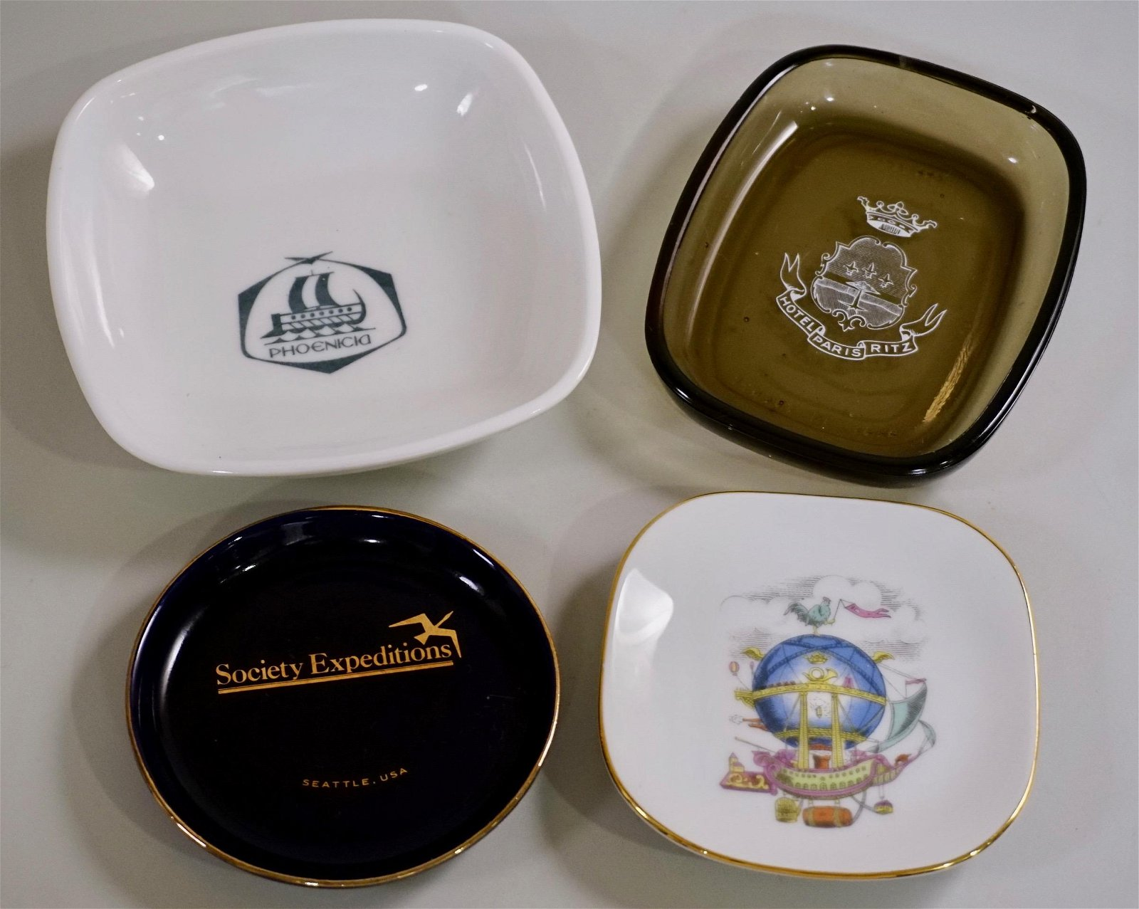 Vintage Ashtrays Soap Dishes Including Alitalia by