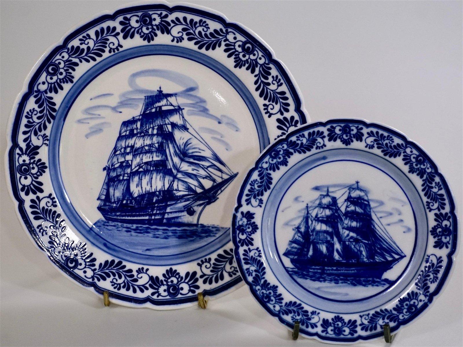 Nautical Flow Blue Sailing Ship Royal Delft Plate Wall