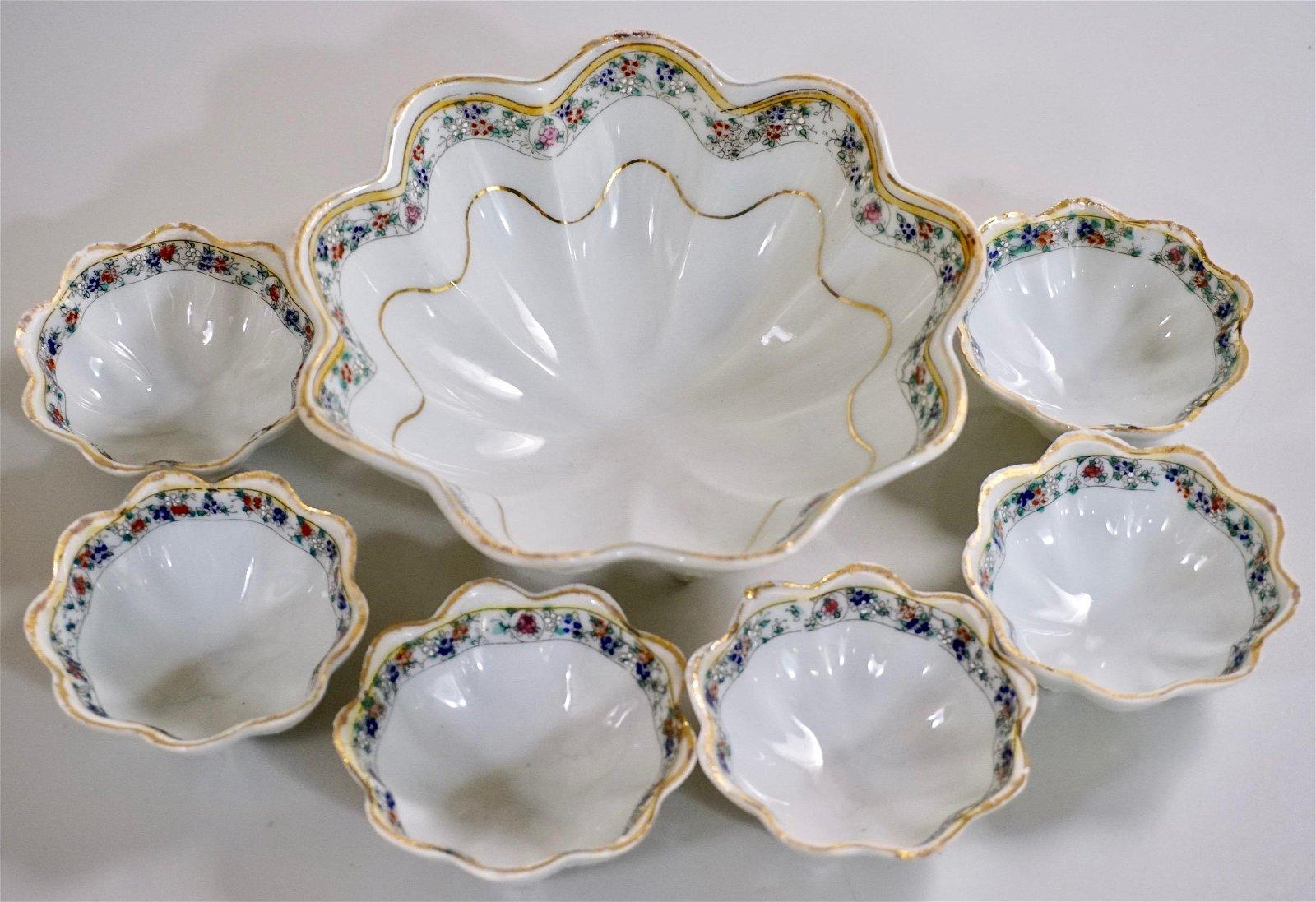 Nippon Porcelain Footed Bowl Six Rosettes Set