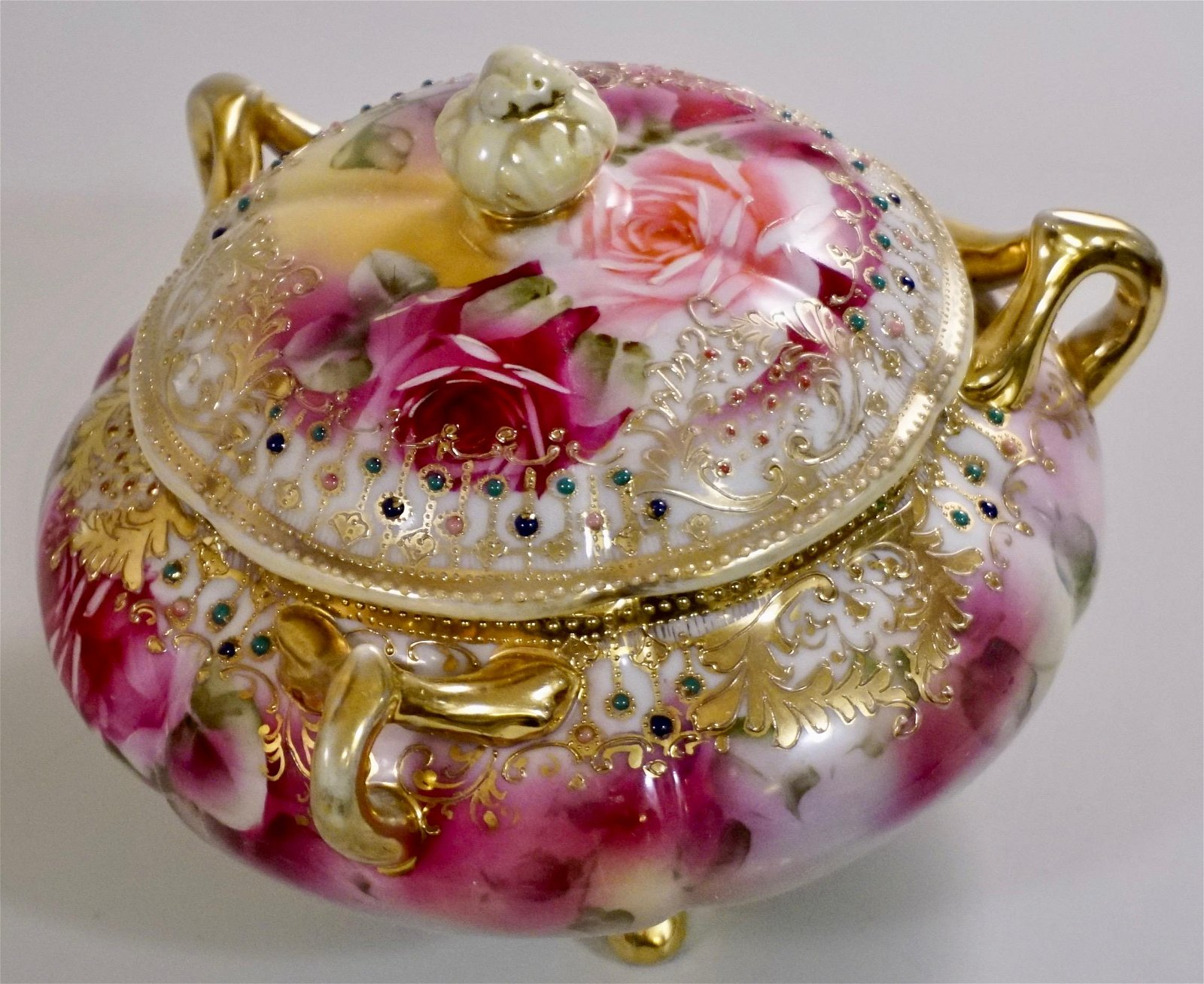 Nippon Porcelain Jeweled Gold Moriage Hand Painted Rose