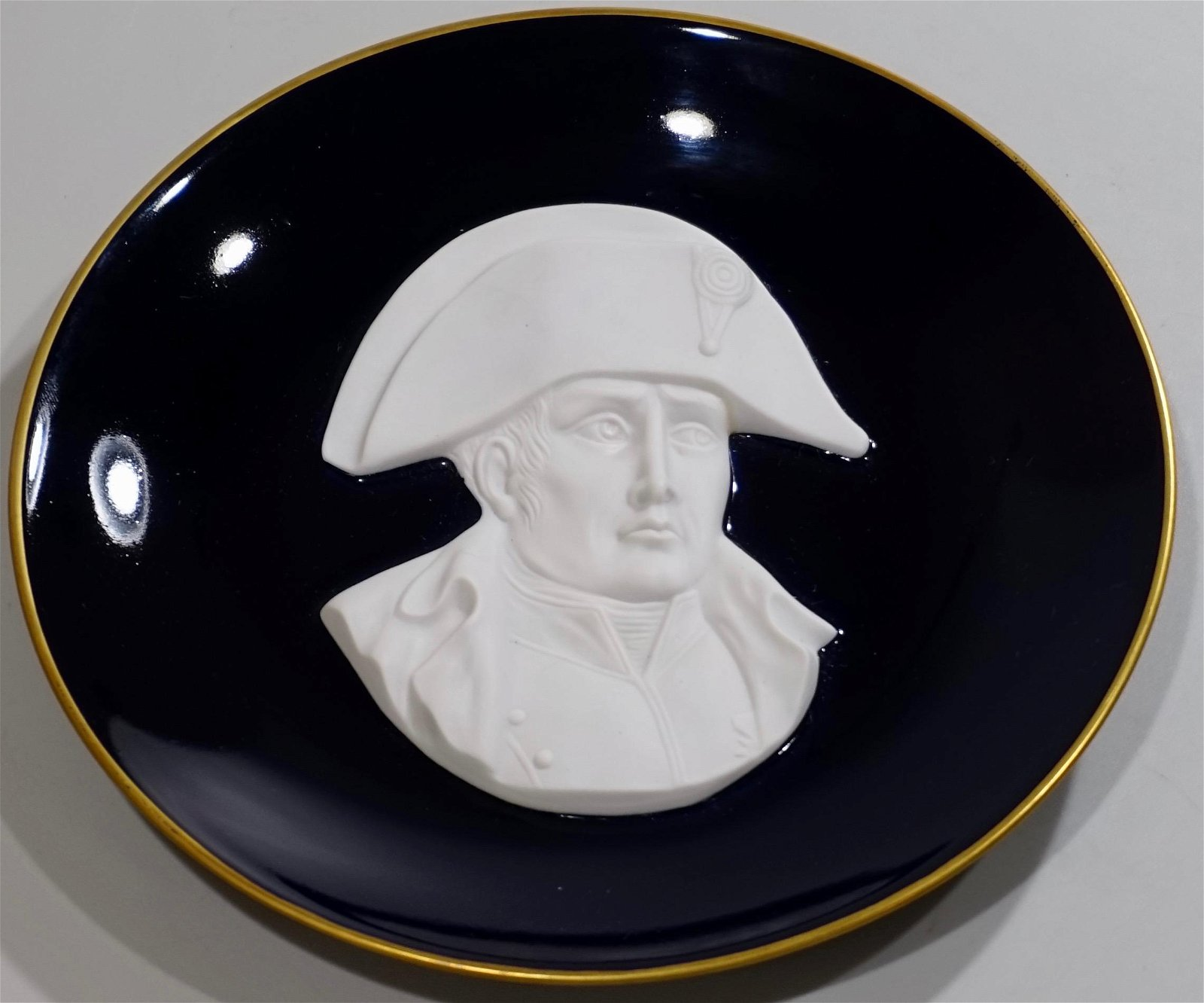 Cobalt Porcelain Napoleon Plate White Parian Bisque Bas