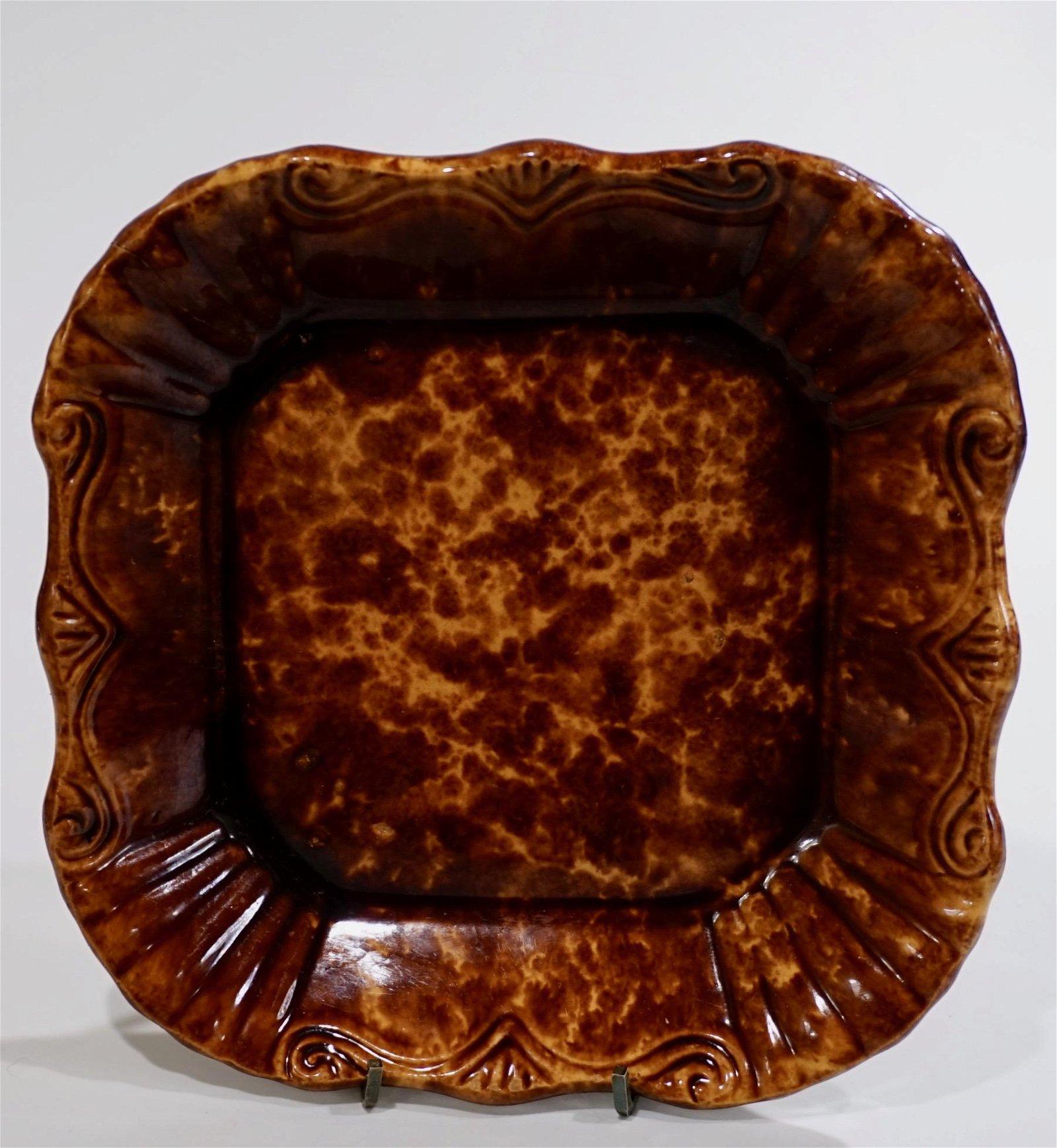 Antique Rockingham Glaze Brownware Pottery Mid 19th C
