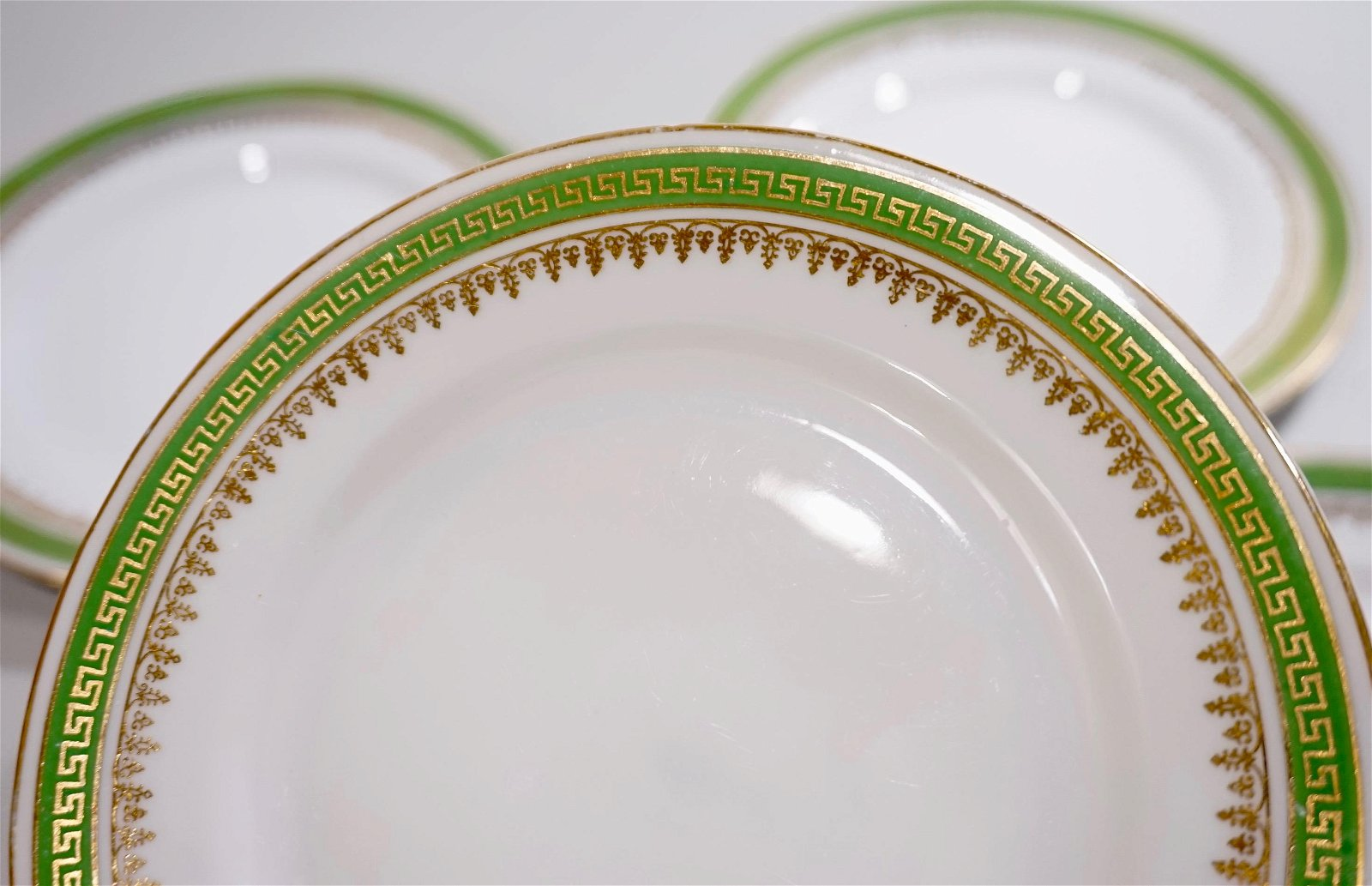 Imperial Crown China Greek Key Green Border Plates Sold