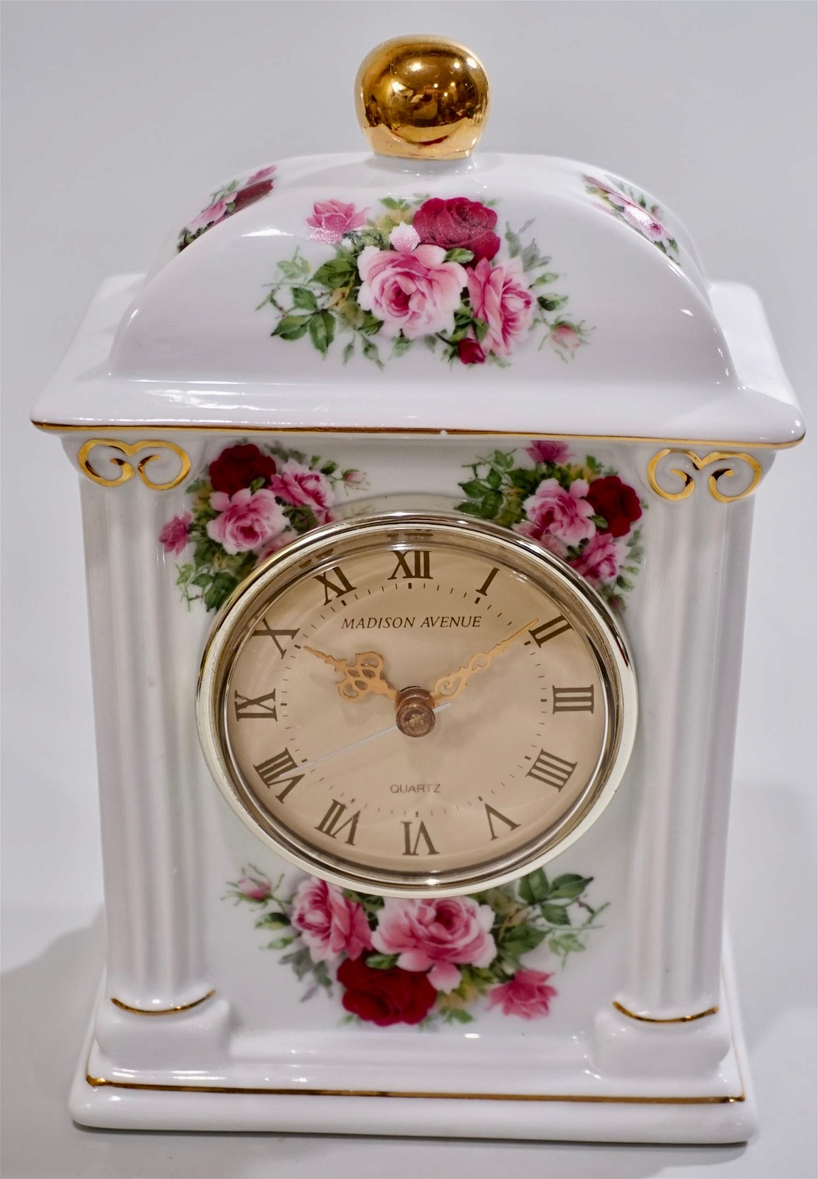 Madison Avenue Porcelain Clock in Working Condition