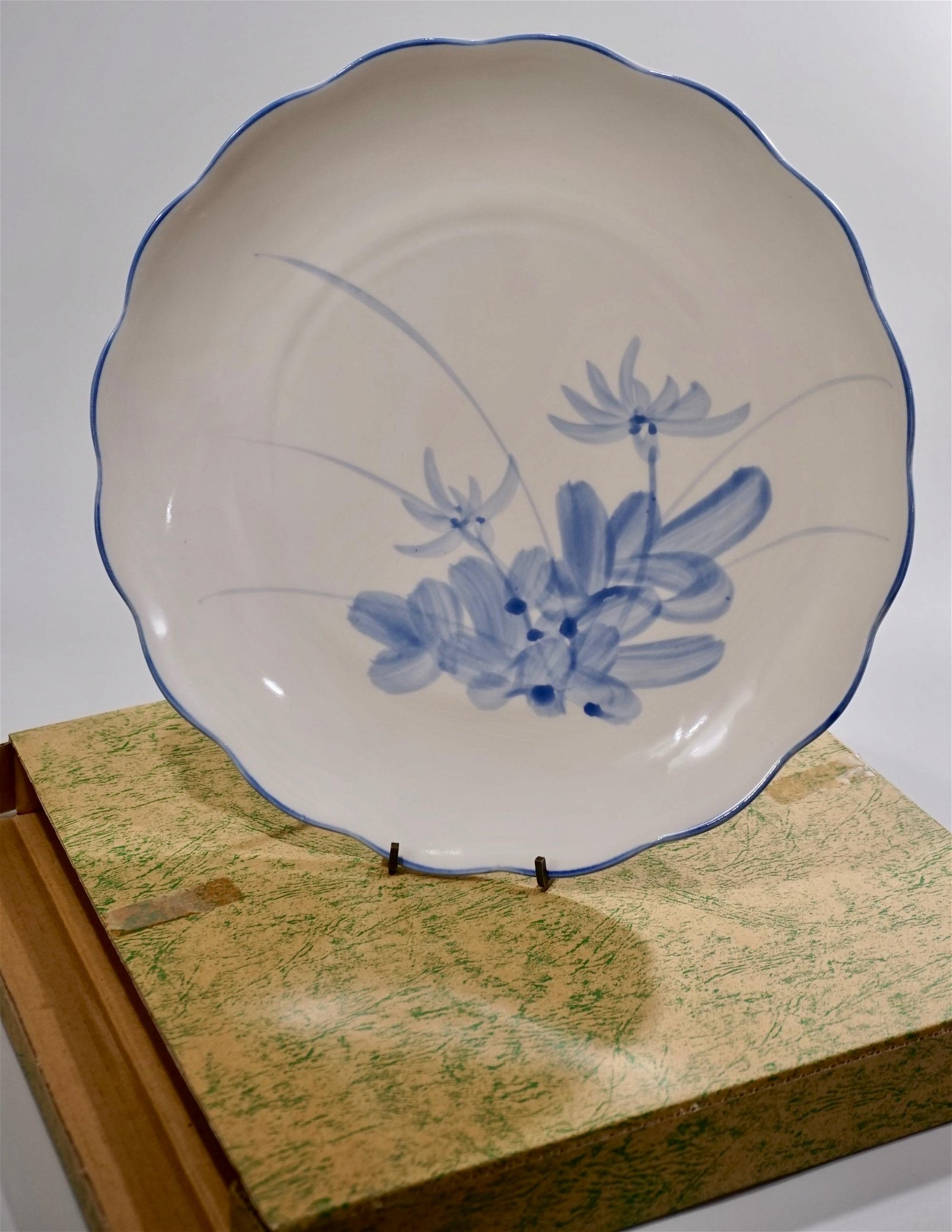 Japanese Porcelain Blue Painted Charger Boxed Never