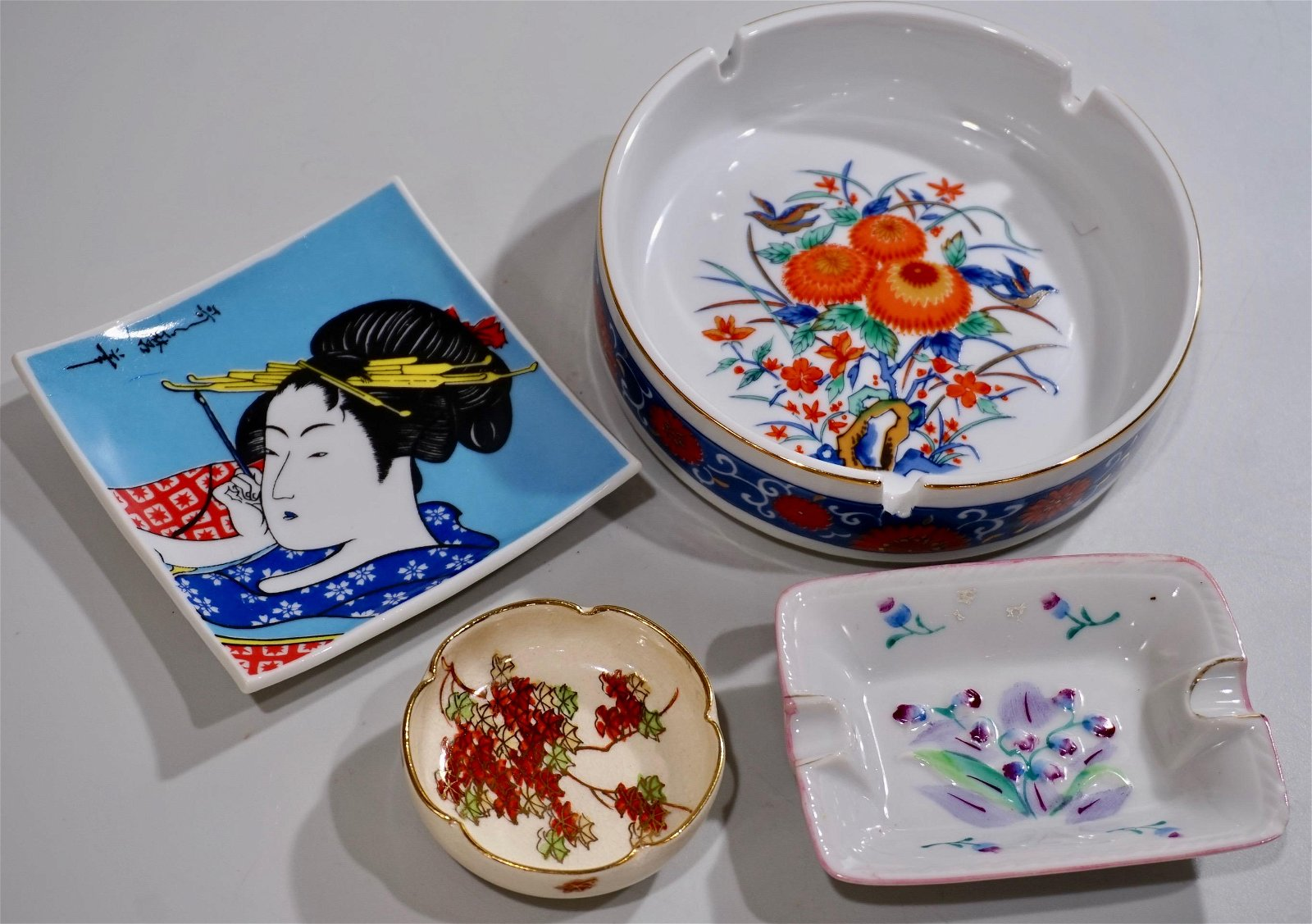 Japanese Ashtrays Small Dishes Lot of 4 Mid Century and