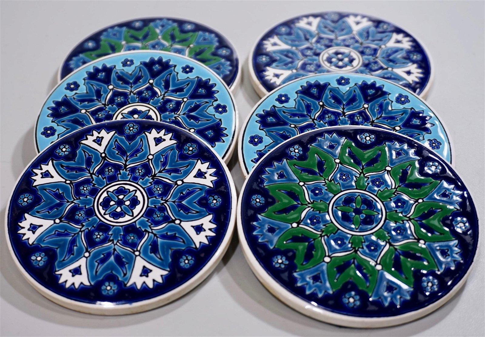 Vintage Moorish Embossed Tile Coaster Set Of 6 Round