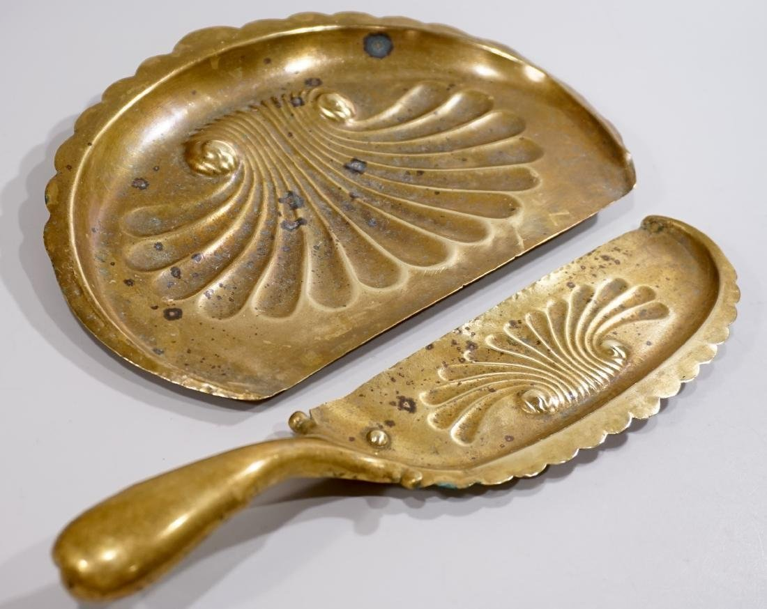 Art Nouveau Period Brass Table Crumbs Tray Scoop Set