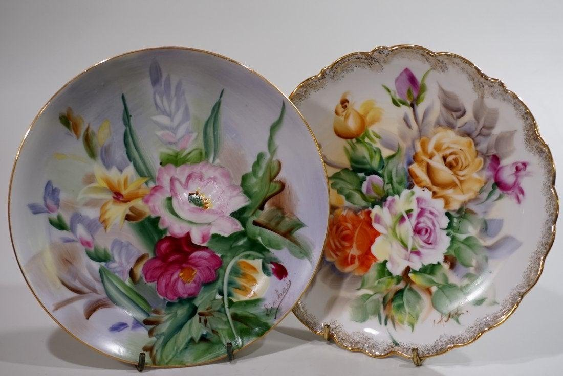 Pair Signed Hand Painted Porcelain Floral Plates Wall