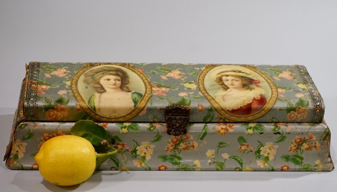 Victorian Celluloid Trinket Vanity Box Beauty Portraits
