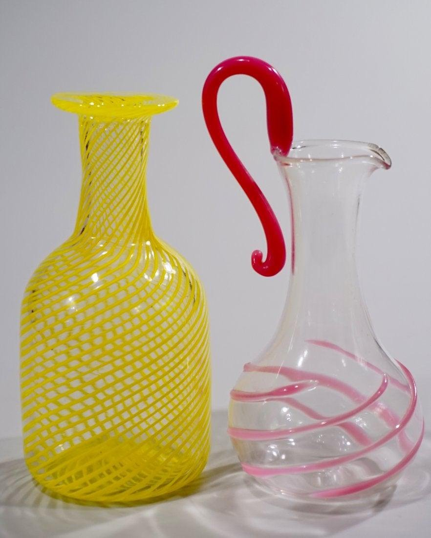 Blown Art Glass Small Vase Pitcher Lot of 2