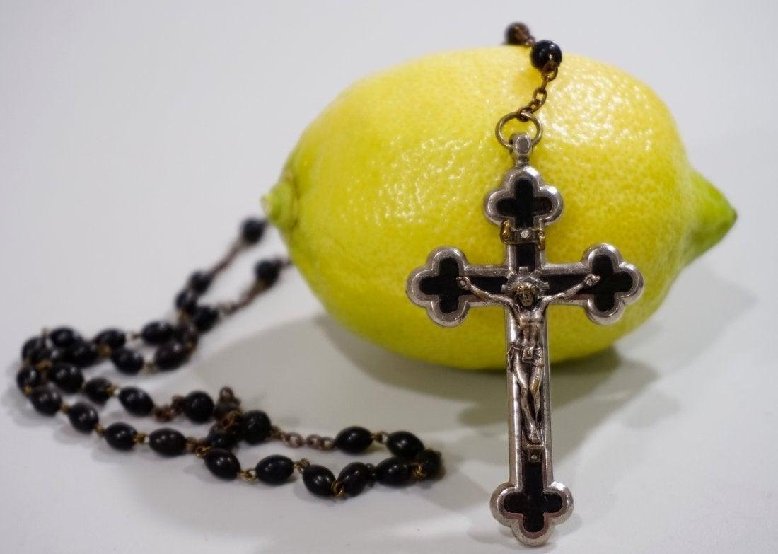 Italian Crucifix Rosaries Genuine Cocoa Bead Vintage