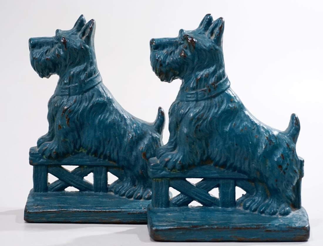 Blue Scottish Terrier Cast Iron Vintage Bookends