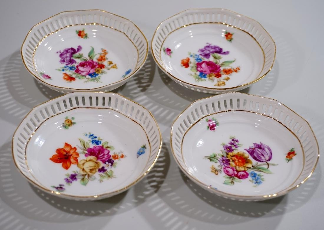 Bavaria Porcelain Dresden Flowers Reticulated Dishes