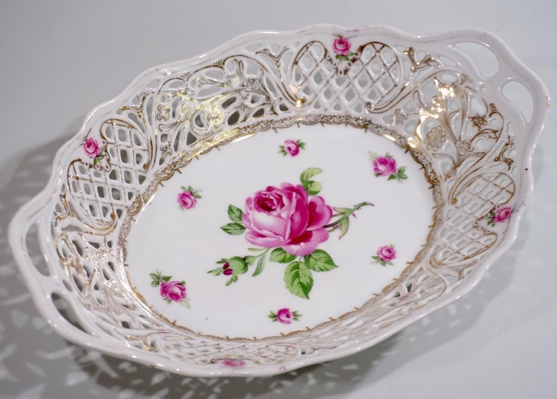 Dresden Reticulated Porcelain Bread Basket Rose Design