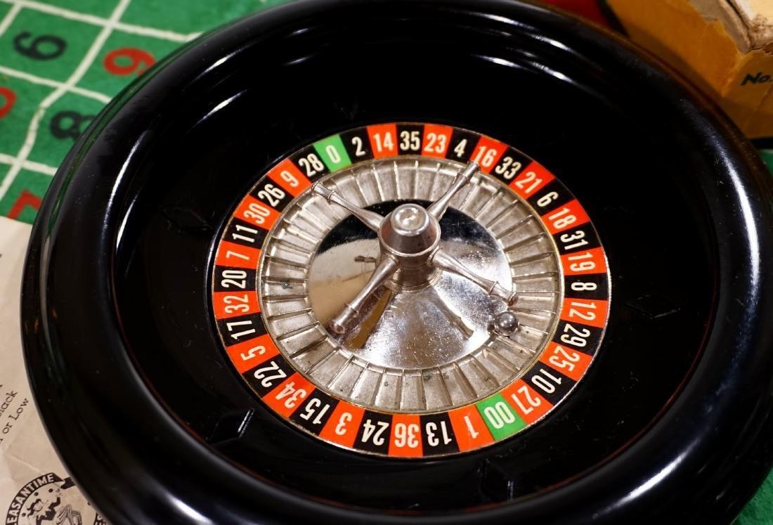 Vintage Roulette Wheel Gambling Felt Casino Board Table