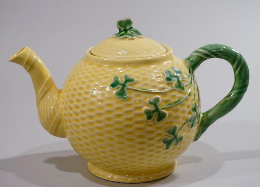 Majolica Shamrock Teapot Yellow Glazed Basketweave