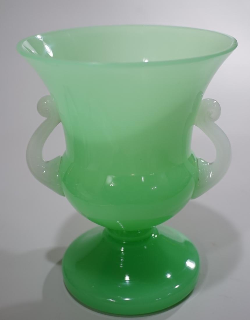 Steuben Green Jade Vase Applied Alabaster Glass Handles