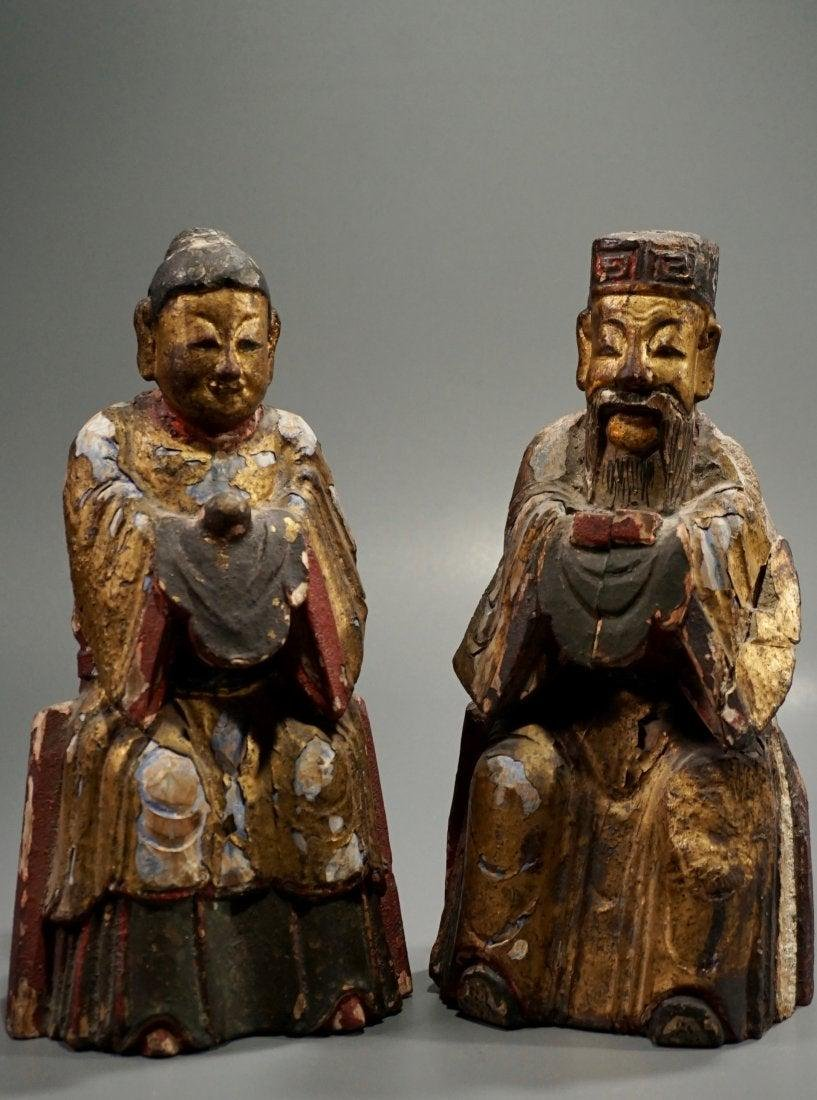 Antique Chinese Buddhist Temple Carved Figures Pair