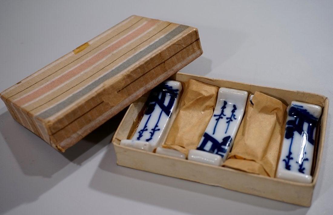 Vintage Blue White Painted Porcelain Hashioki Boxed Set